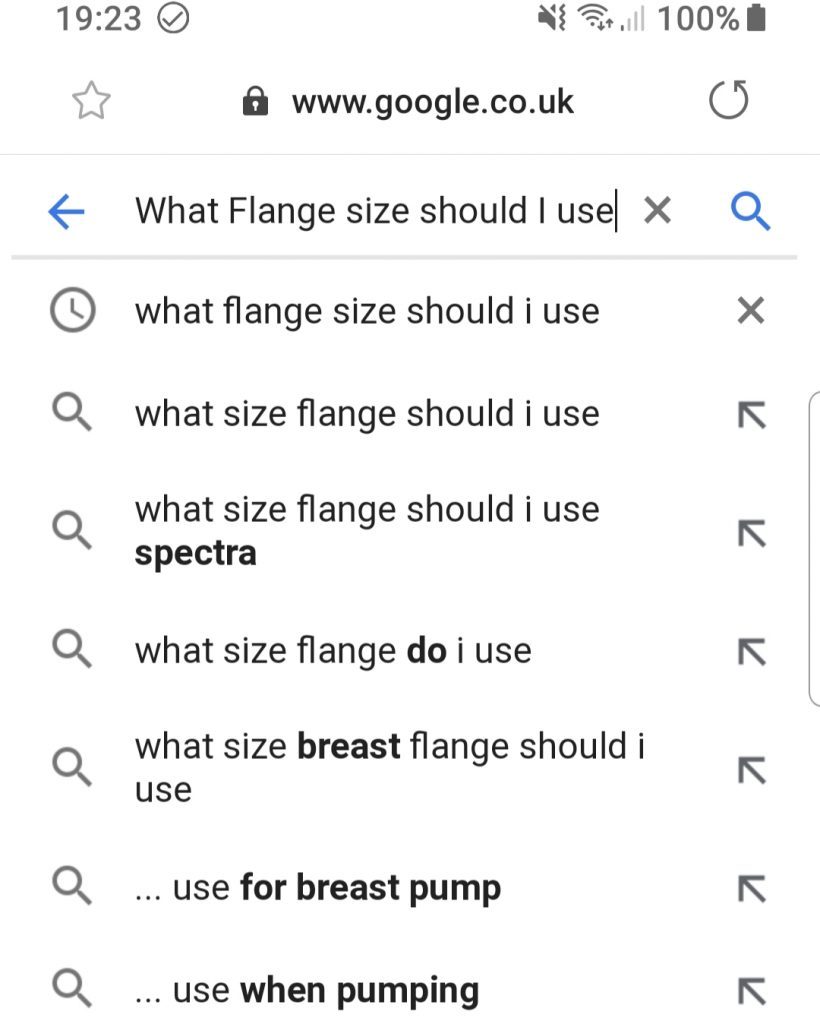 Google search for - what flange size should i use?