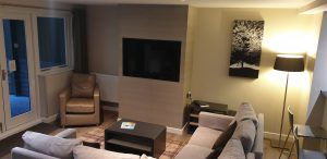 Lounge area in lodge at Center parcs Longleat